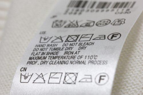 洗濯表示のタグの画像