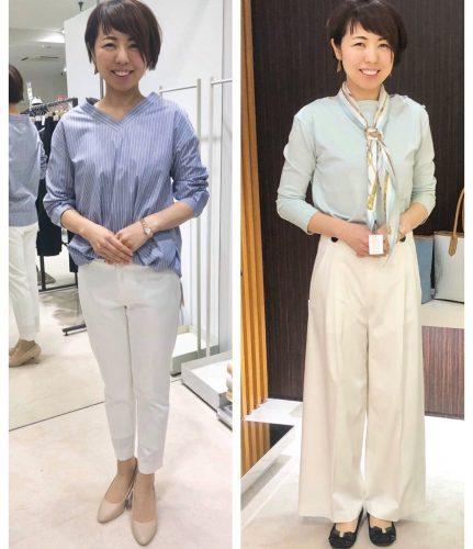 女性がデザインの違うパンツ試着している画像