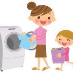洗濯する母娘のイラスト