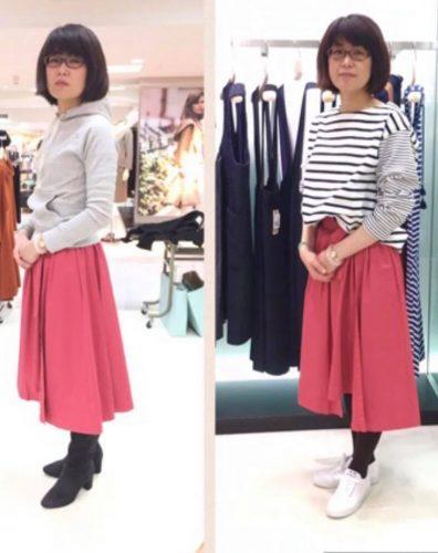 ピンクのスカートを試着する女性の画像