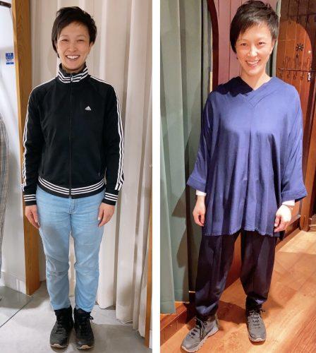洋服を試着する女性の画像