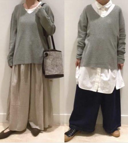 ワイドパンツを着る女性の画像