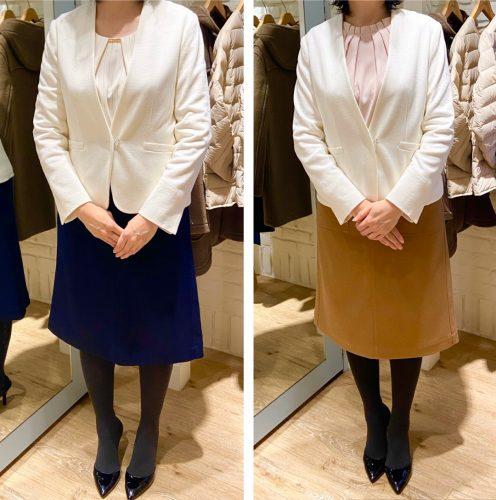 ジャケットを試着する女性の画像